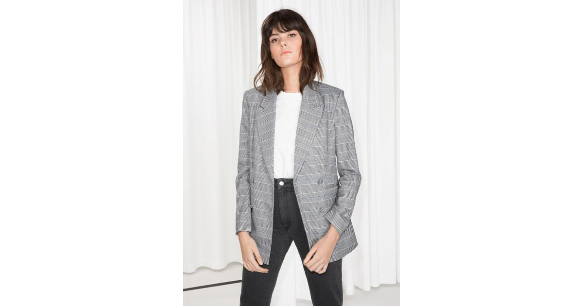 47182cbf & Other Stories Gray Oversized Double Breasted Blazer