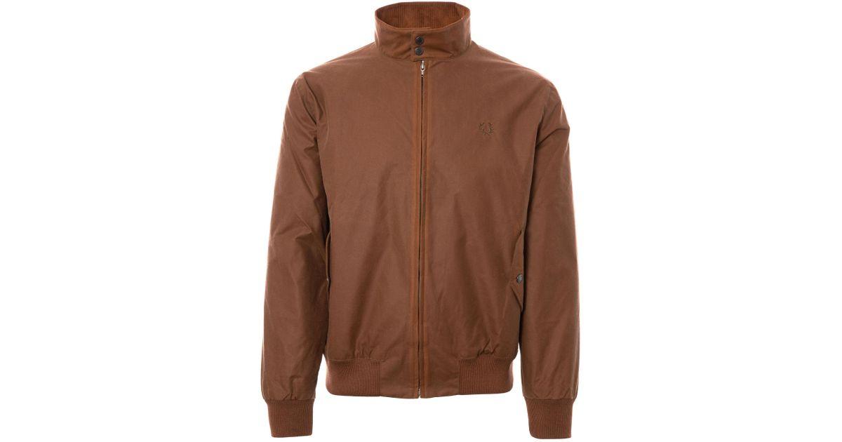 suurin alennus yksinoikeudella käsitellään ilmainen toimitus Fred Perry Authentic Brown Made In England Waxed Harrington Jacket -  Tobacco for men