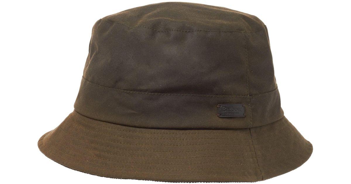 2f371ec43d5 Lyst - Barbour Devon Sports Waxed Cotton Bucket Hat in Green for Men