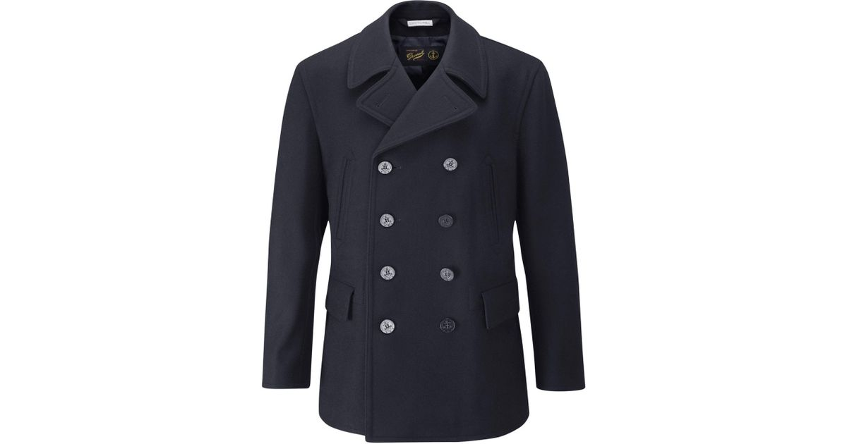 f5baf48fb Gloverall Blue Churchill Reefer Navy Wool Coat for men