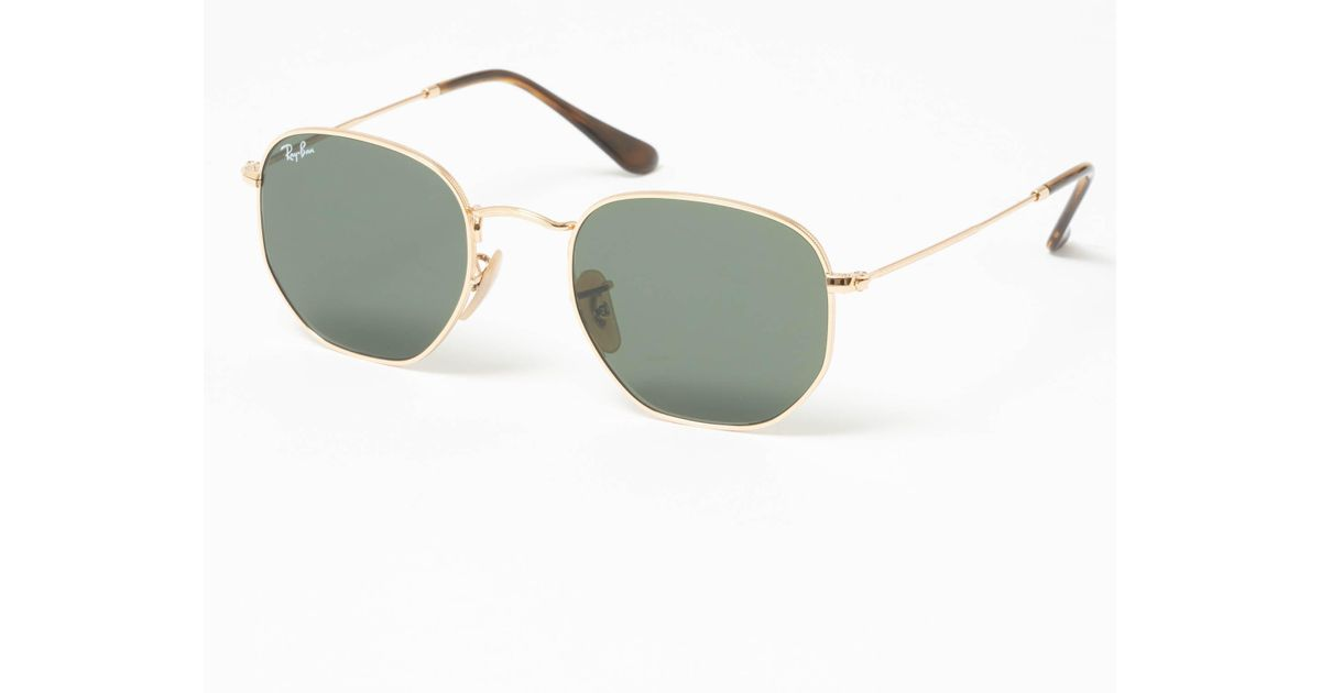 044d682858 Ray-Ban Gold Hexagonal Flat Lens Sunglasses - Green Classic G-15 Lenses in  Metallic for Men - Lyst