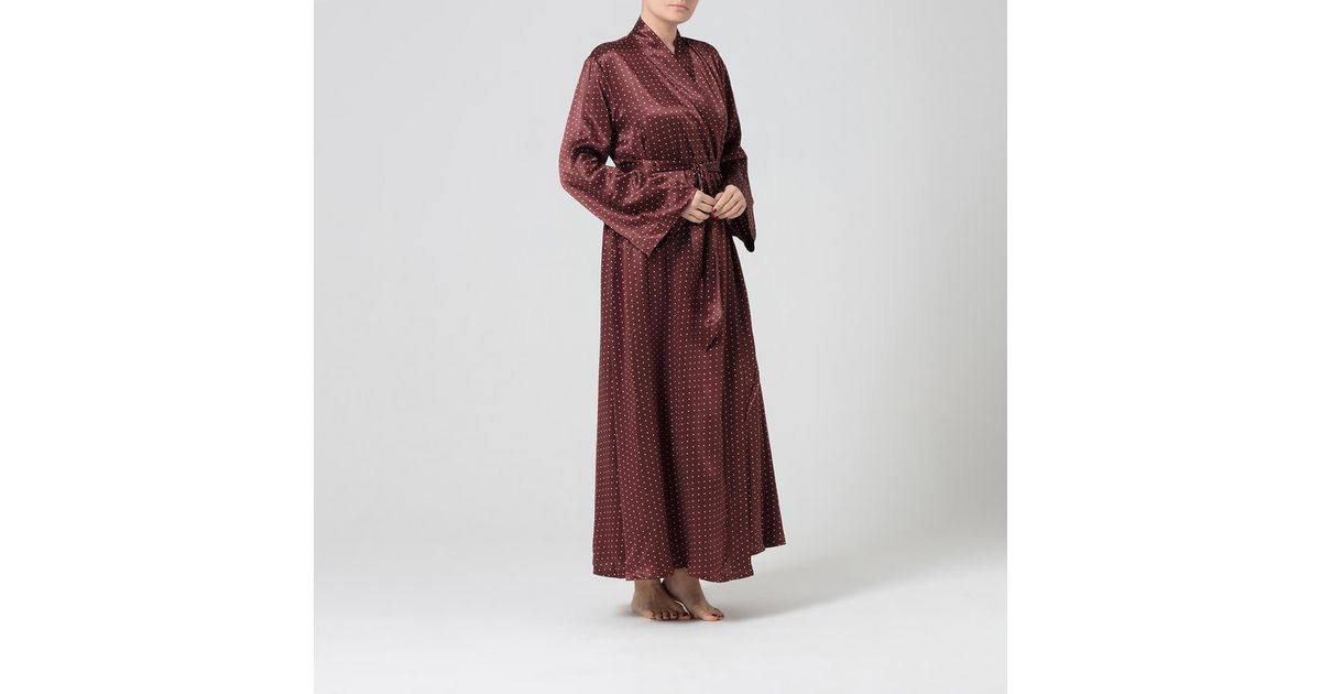 Alice   Astrid Chocolate And Cream Silk Dressing Gown in Brown - Lyst 01c6458f5
