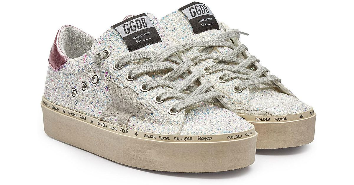 d5520922be5 Golden Goose Deluxe Brand Hi Star Leather And Glitter Platform Sneakers -  Lyst