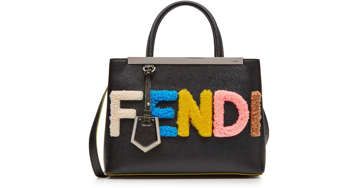 15b04672b5dd Lyst - Fendi Petite 2jours Leather Tote With Shearling Logo - Black in Black