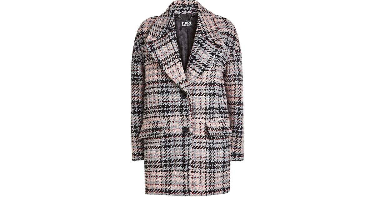 Oversized Save Check Fancy Coat Lyst 46 Lagerfeld Karl 5qwOpx