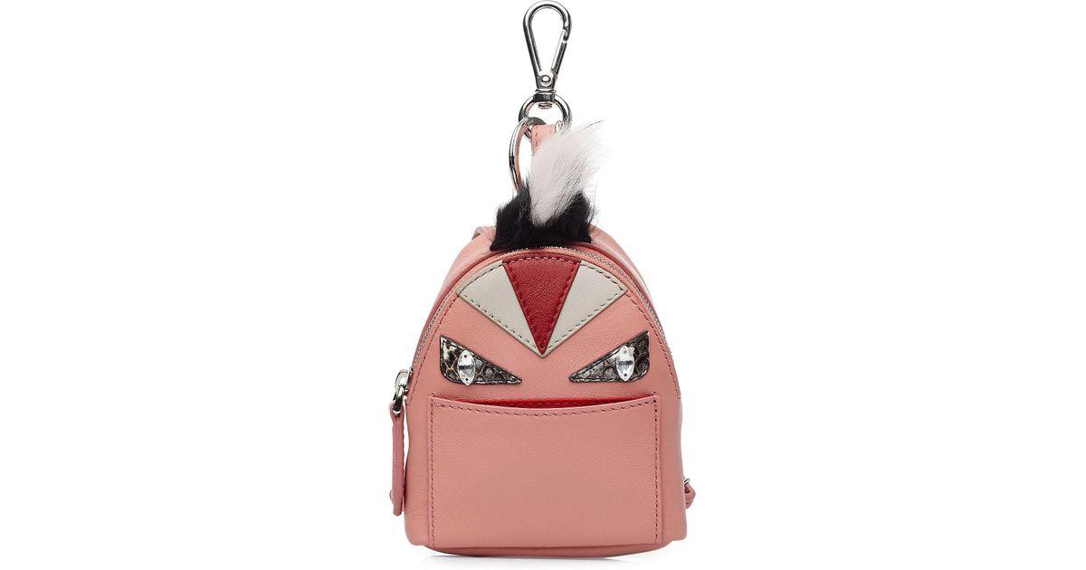 a728f98811df Lyst - Fendi Leather Backpack Charm With Fox Fur