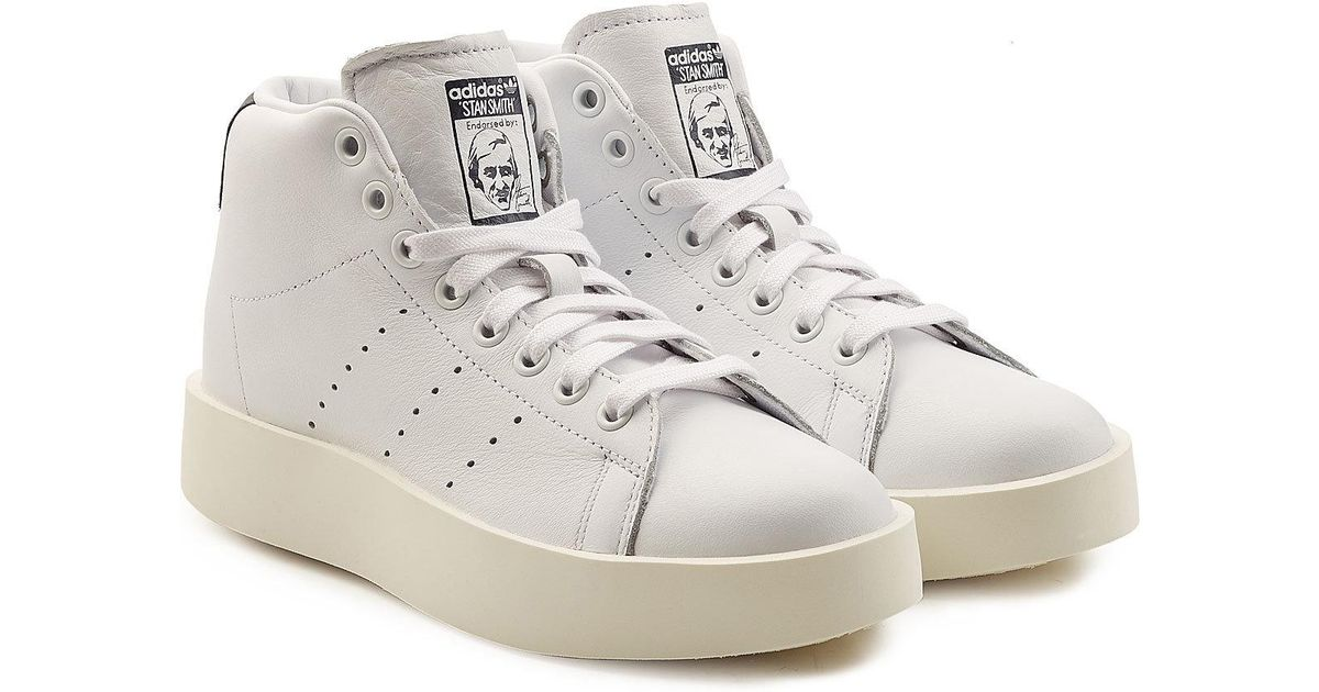 huge selection of 8a814 34d09 Adidas Originals - White Stan Smith Bold Platform Leather Sneakers - Lyst