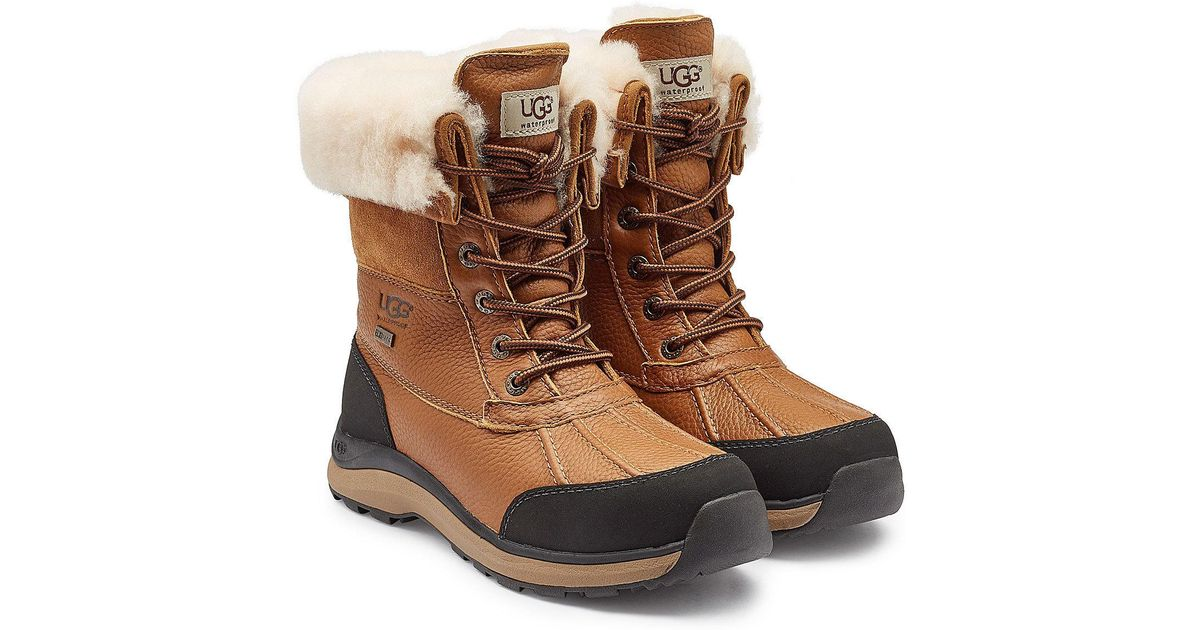 Ugg Brown Adirondack Ankle Boots With Suede, Leather And Shearling Lyst