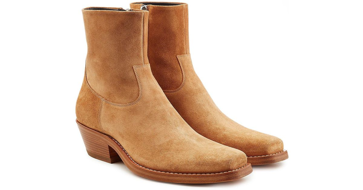 3bc466d97400 CALVIN KLEIN 205W39NYC Western Tod Suede Ankle Boots in Brown for Men - Lyst