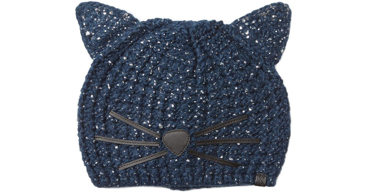 Karl Lagerfeld Cat Beanie Metallic in Blue - Lyst d390175275b
