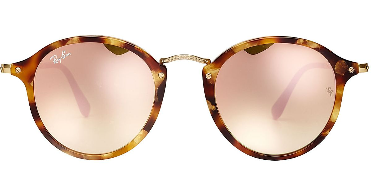 4159fffbfd Ray-ban Rb2447 Round Fleck Sunglasses With Mirrored Lenses - Rose in Brown