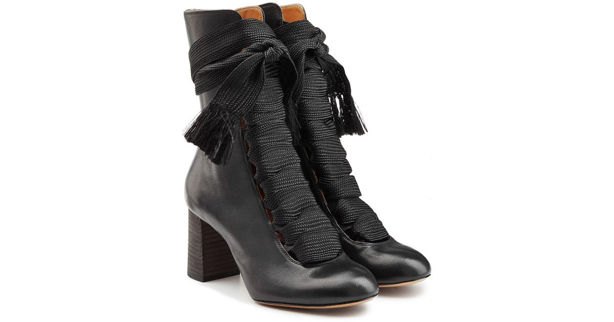 7c7cabc1 Chloé Black Leather Ankle Boots With Braided Ties