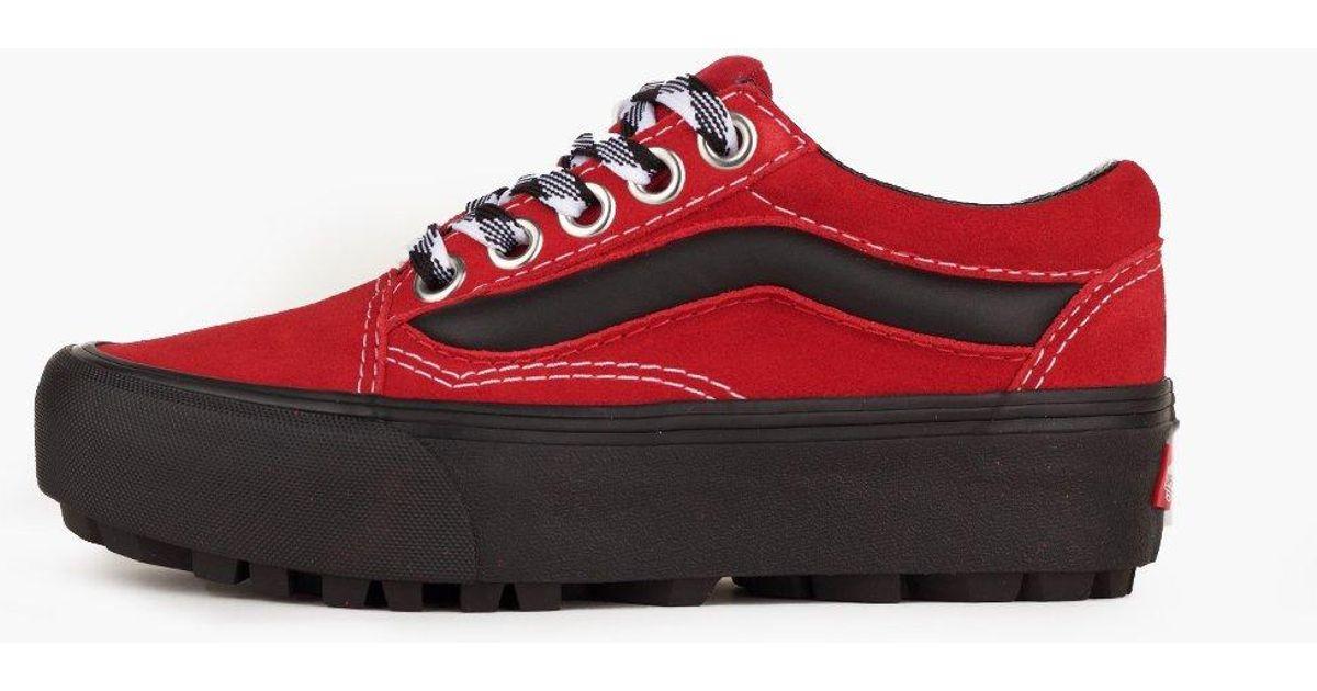 75e1c1f9 Vans Red Ua Old Skool Lug Platform (90s Retro) Women's