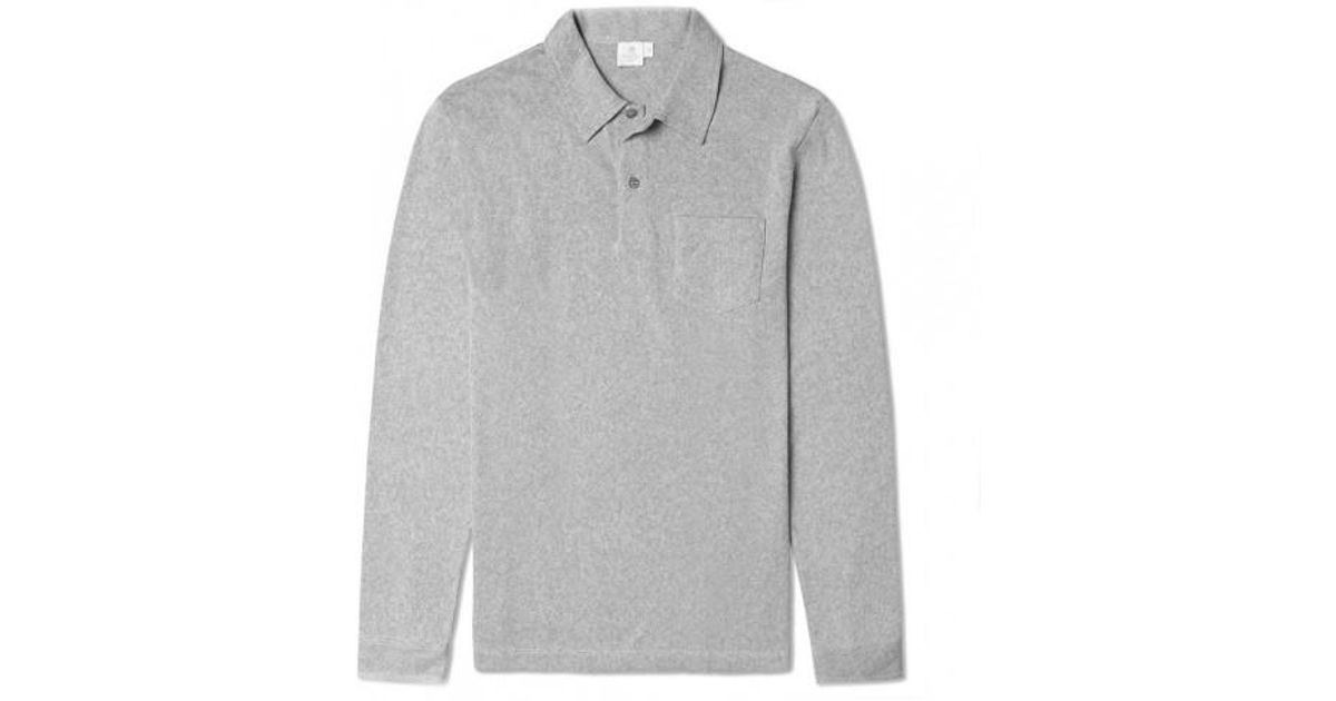 78437c7fc Sunspel Men s Combed Cotton Long Sleeve Riviera Polo Shirt In Grey Melange  in Gray for Men - Lyst
