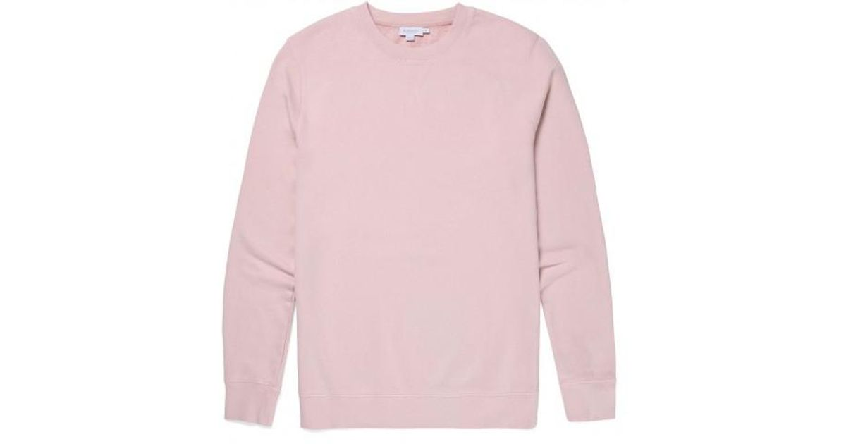 9aec115b2 Sunspel Men's Cotton Loopback Sweatshirt In Pale Pink for men