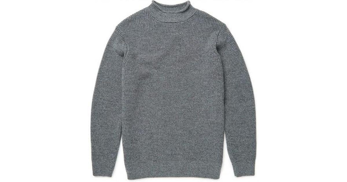 26a9238c551 Sunspel Gray Men's Merino Wool Guernsey Jumper In Charcoal Mouline for men