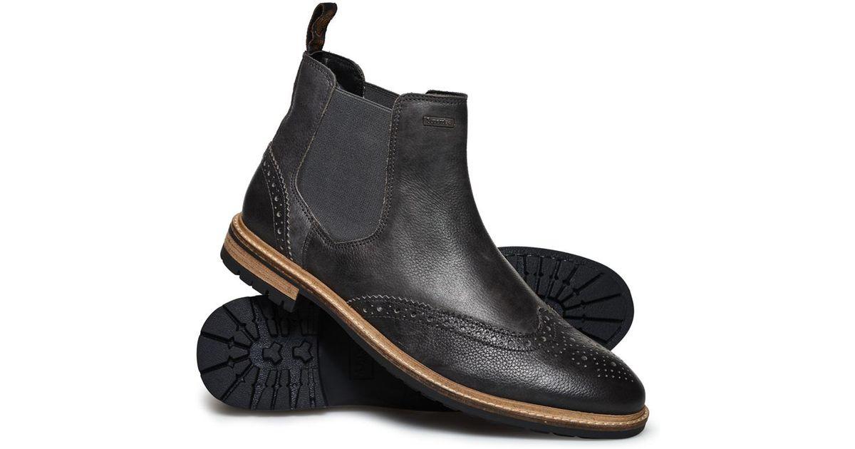 9c96aa612c1 Superdry - Black Brad Brogue Premium Chelsea Boots for Men - Lyst