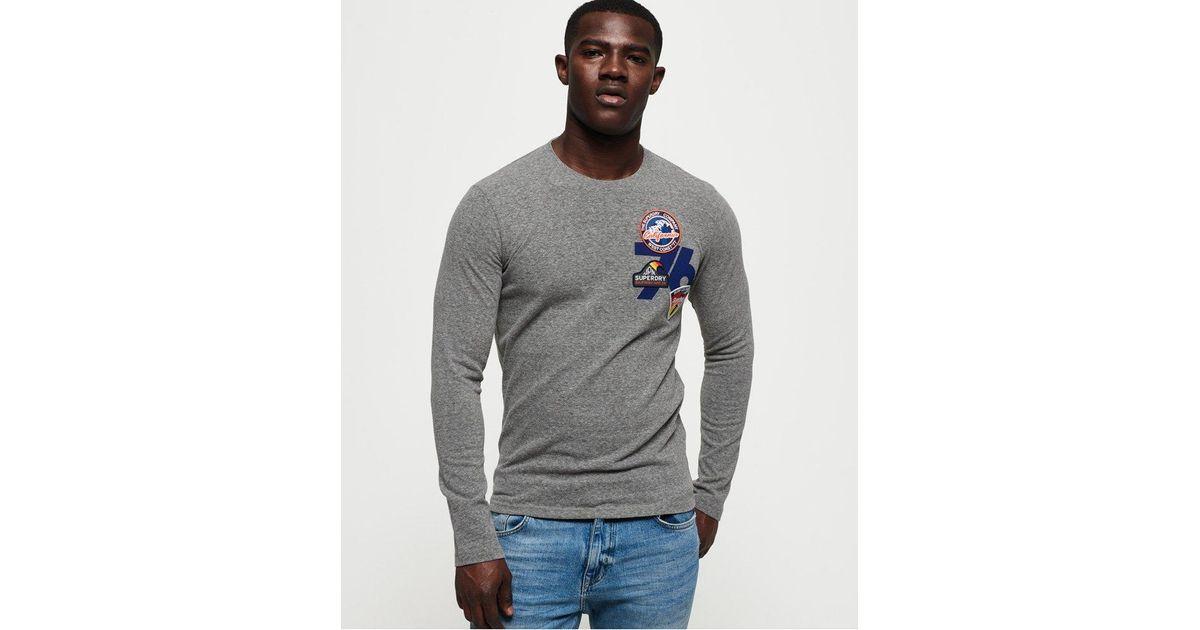 New Mens Superdry 76 Surf Long Sleeve T-Shirt Phoenix Grey Slub