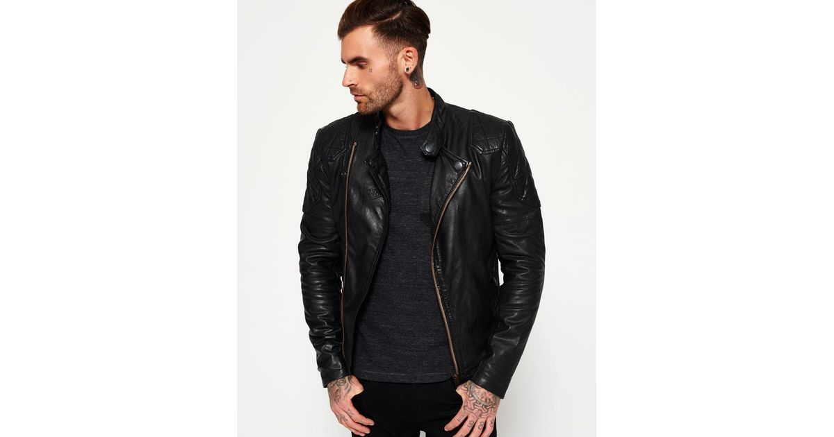 first rate discount for sale sophisticated technologies Superdry Black Endurance Indy Leather Jacket for men