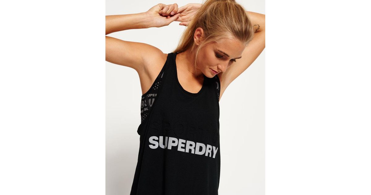 New Womens Superdry Night Runner Tank Top Leopard Camo Black
