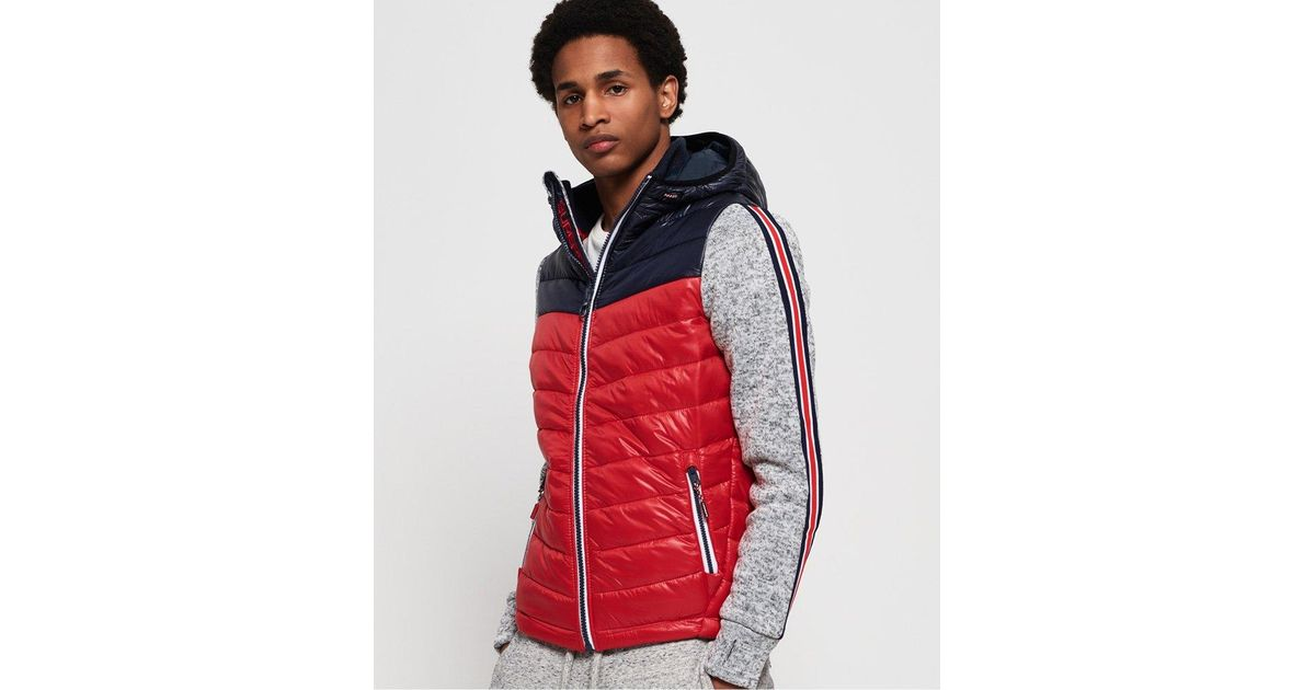 Superdry Red Storm Hybrid Chevron Colour Block Zip Hoodie for men