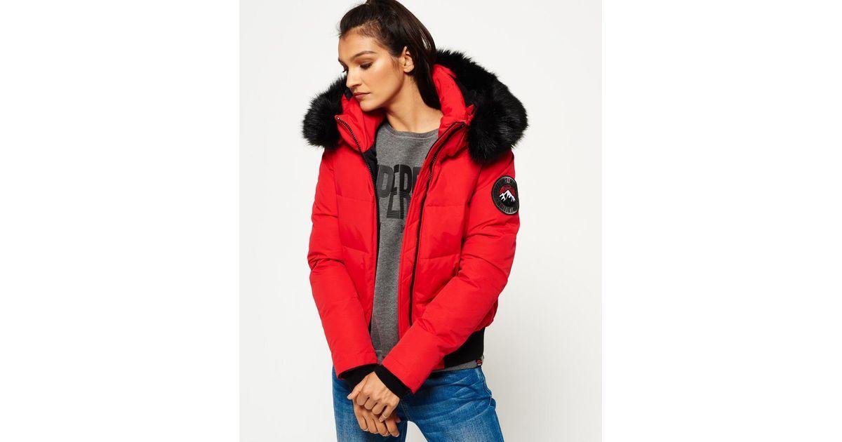 new product d49d5 58883 Superdry Red Everest Ella Bomber Jacket