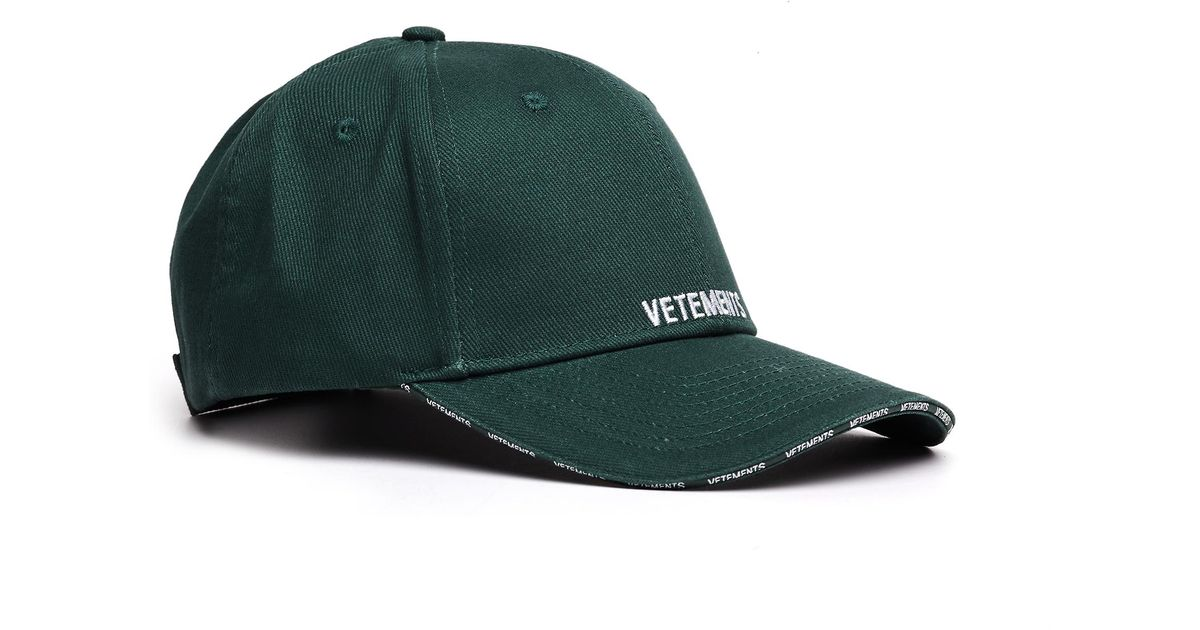 e88edf454494a8 Vetements Green Logo Embroidered Cap in Green for Men - Lyst