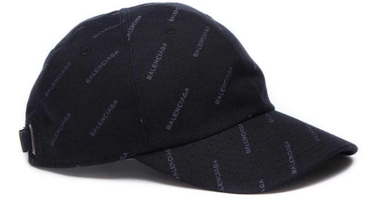 3b0163b2451 Lyst - Balenciaga Cotton Logo Print Cap in Black for Men