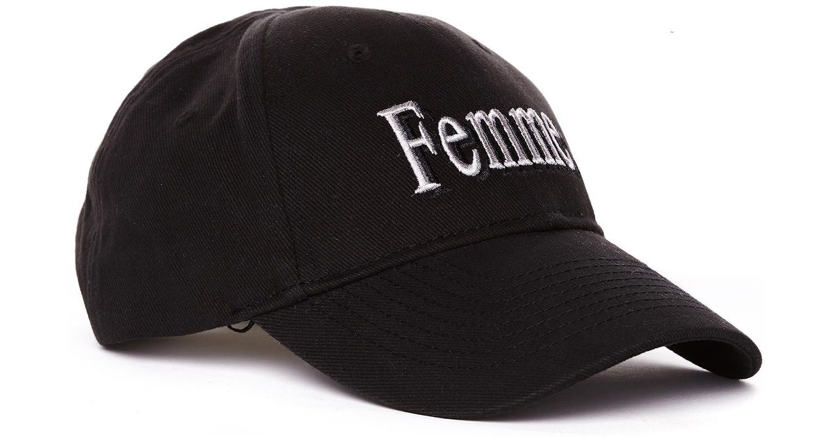 023353ad Lyst - Balenciaga Femme Embroidered Black Cotton Cap in Black for Men