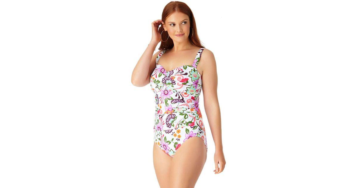 6875e08a8a1 Lyst - Anne Cole Plus Size Fleetwood Floral Twist Front Shirred Bandeau One  Piece Swimsuit