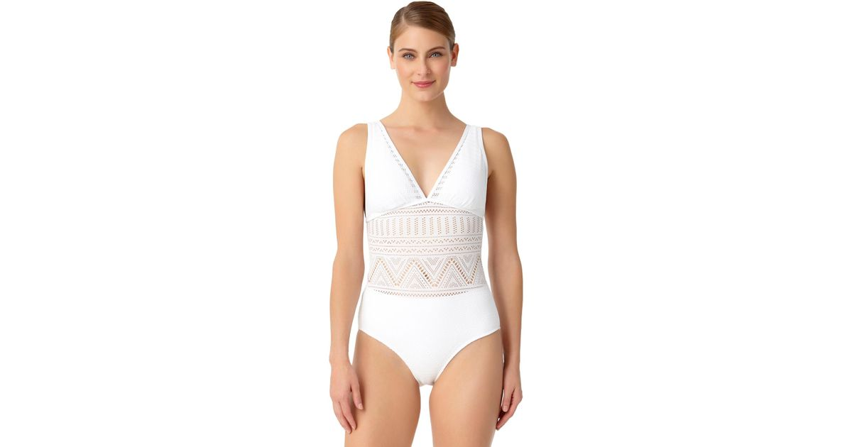 870636f4a2a03 Lyst - Anne Cole Crochet All Day Plunge Maillot One Piece Swimsuit in White