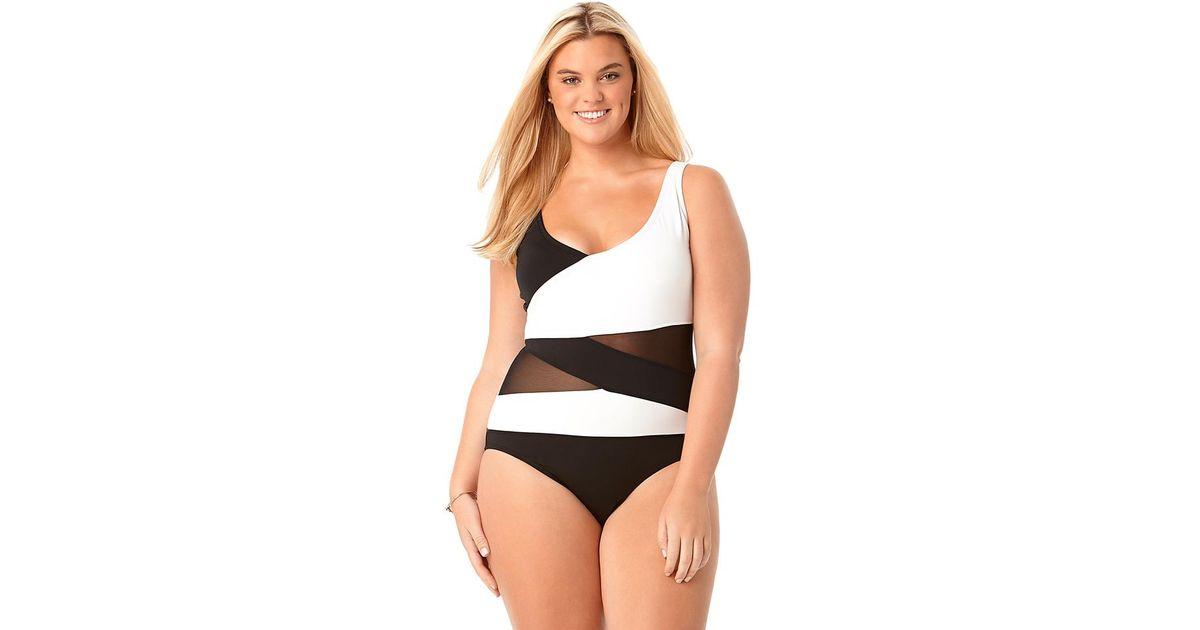 543ffd2142 Lyst - Anne Cole Size Mesh Ots Asymmetric Spliced One Piece Swimsuit in  Black