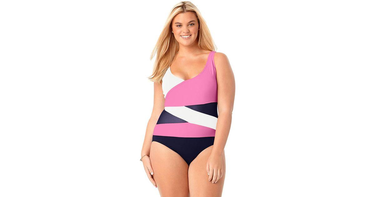 fca66ace94a Lyst - Anne Cole Size Mesh Ots Asymmetric Spliced One Piece Swimsuit