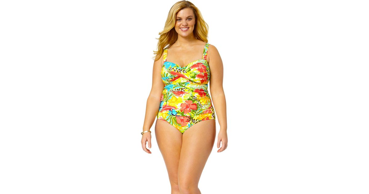 774363e7b48 Anne Cole Size Island Time Twist Front Shirred Bandeau One Piece Swimsuit -  Lyst