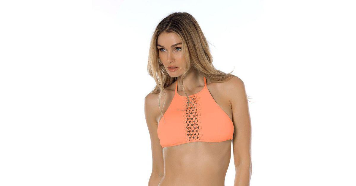 dbf6abb55c108 Lyst - Becca Siren Openwork Ringlet High Neck Halter Swim Top in Orange