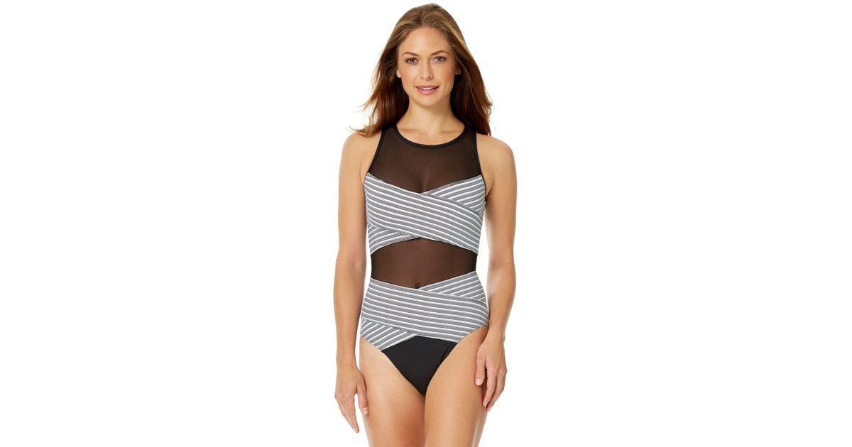 5516749844f Lyst - Anne Cole Mesh Over The Shoulder One Piece Swimsuit in Black