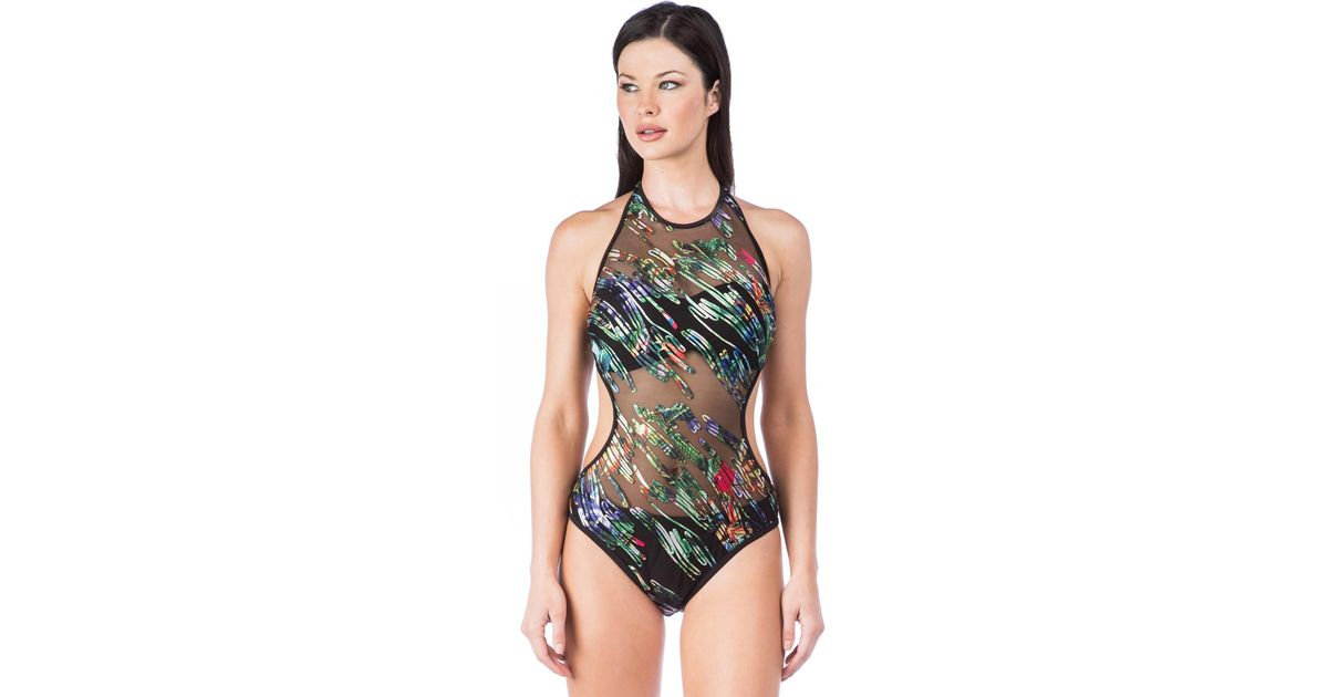 91a9e69b622 Kenneth Cole After The Sun Sets High Neck Monokini One Piece Swimsuit in  Black - Save 55% - Lyst