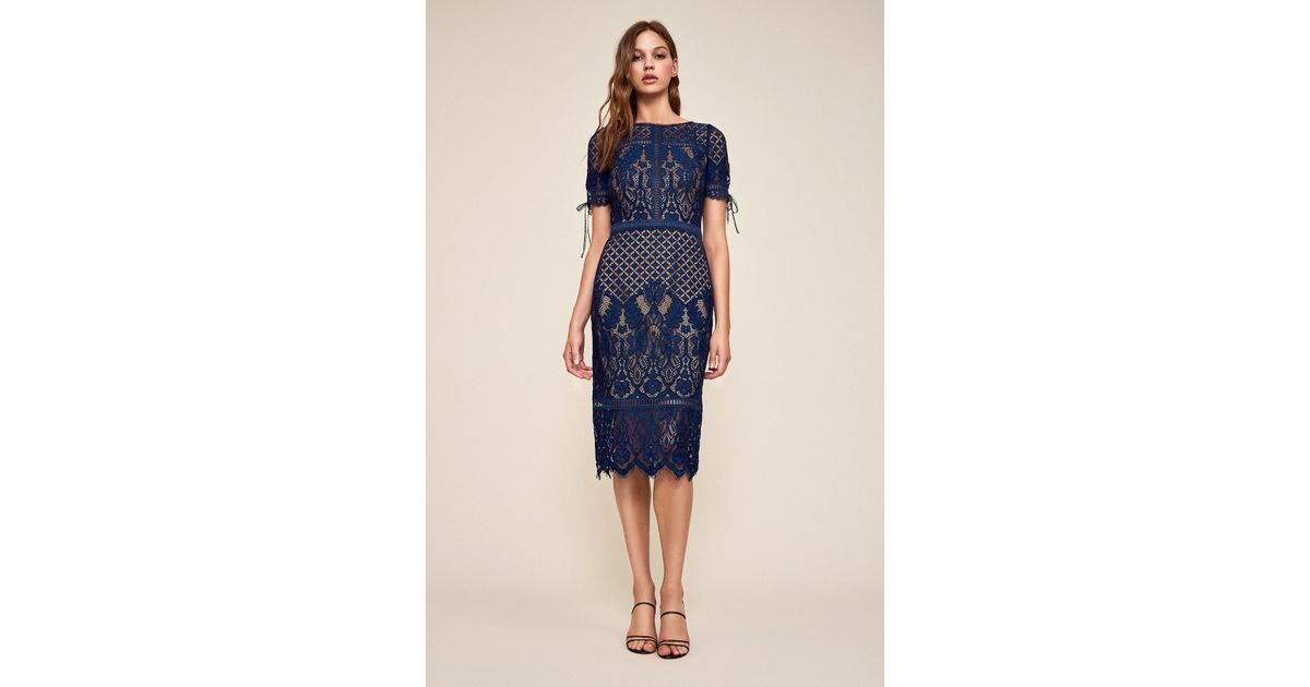 2385e39ee35 Tadashi Shoji Bobek Lace Tea-length Dress in Blue - Lyst