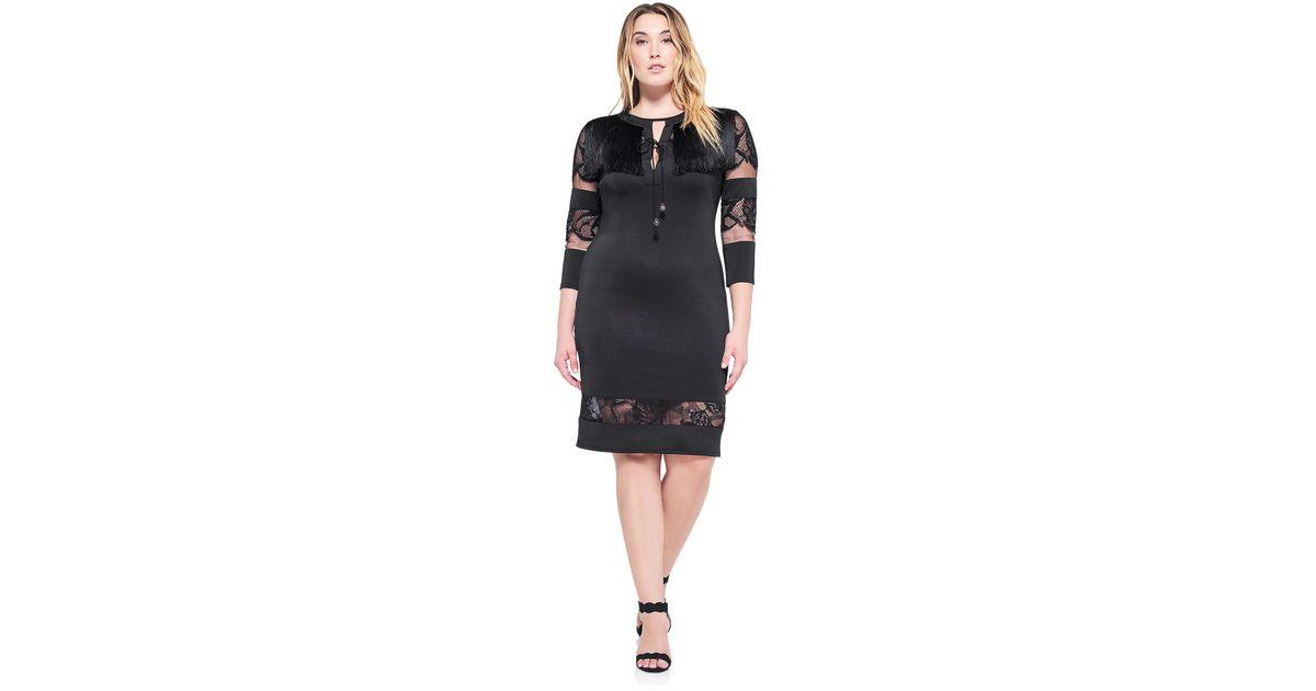 Tadashi Shoji Black Corisande Fringe Dress - Plus Size