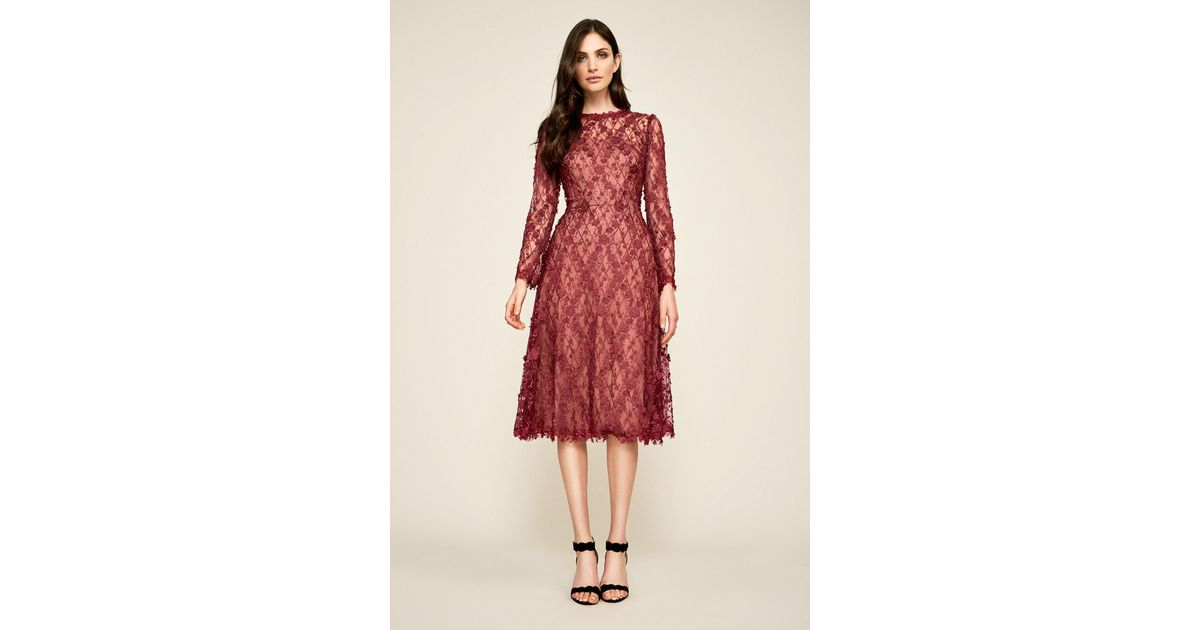3e5f036062e06 Tadashi Shoji - Red Binx Embroidery Tea-length Dress - Lyst
