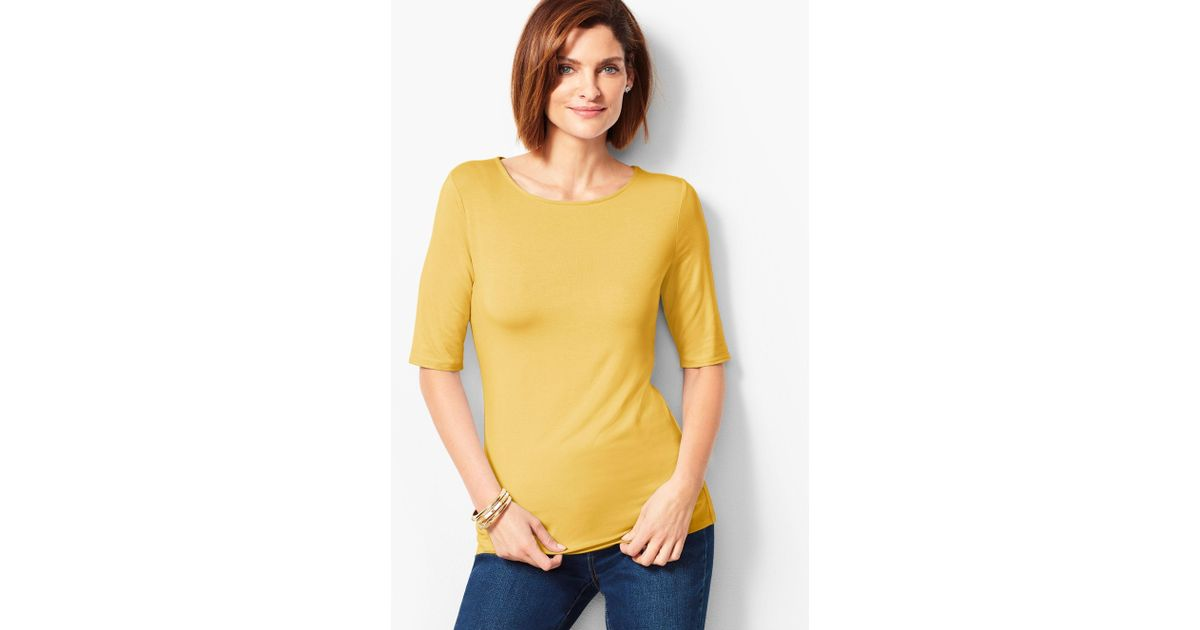 8e1843889ae9f8 Lyst - Talbots Elbow-sleeve Scoop-neck Top in Yellow