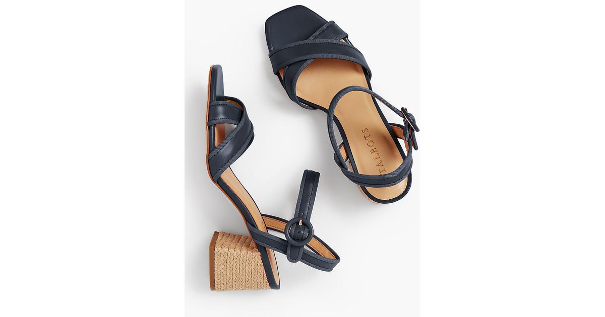 b50e649464a Lyst - Talbots Siena Rope Heel Sandals - Soft Nappa in Blue