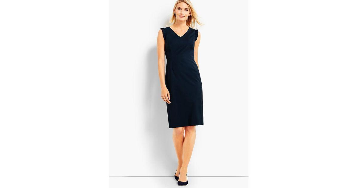 ca81fa6d Lyst - Talbots Seasonless Wool Ruffle Sleeveless Sheath Dress in Blue