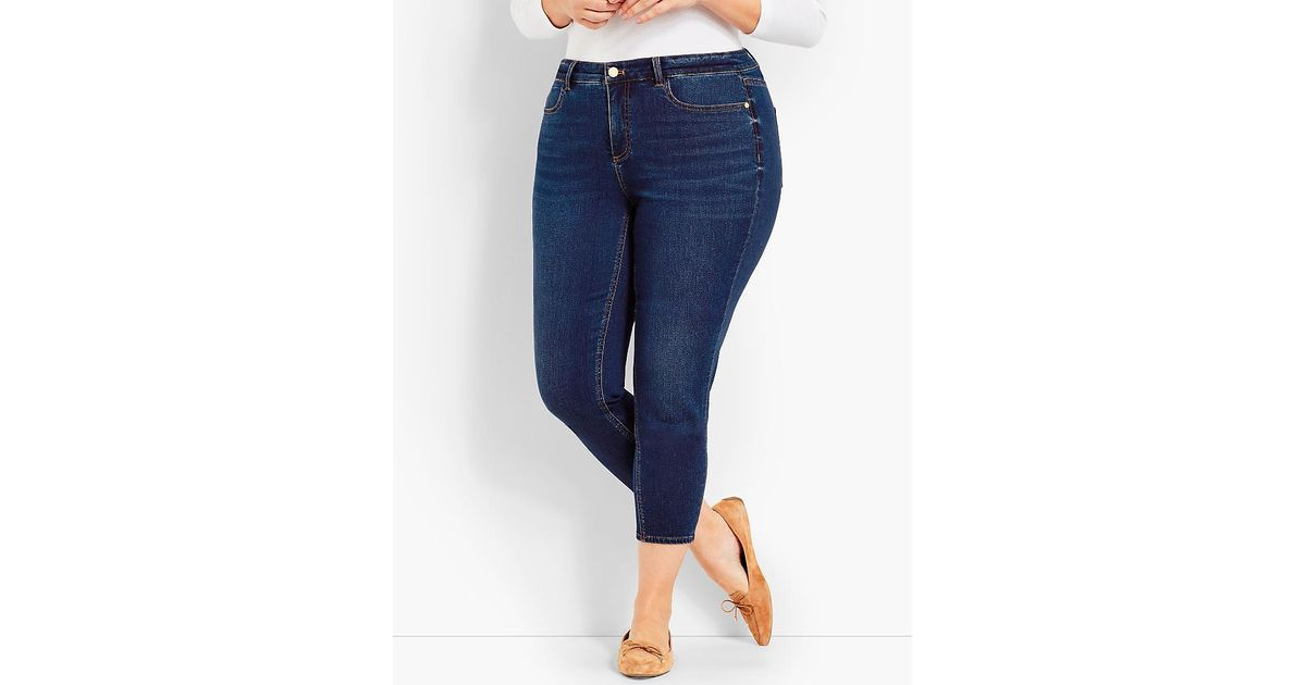 11977e6829a8 Lyst - Talbots Woman Exclusive Luxe Stretch Denim Jegging Crop-saratoga Wash  in Blue