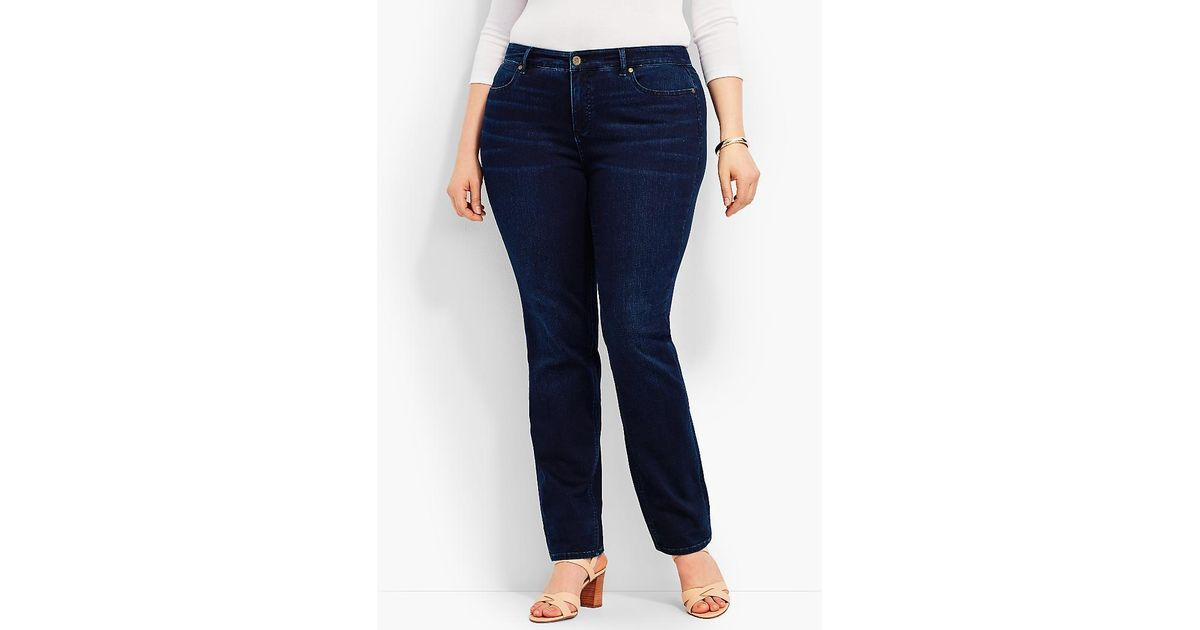 c539b37220e Talbots Plus Size Exclusive Comfort Stretch Denim Straight-leg Jeans - Biscay  Wash in Blue - Lyst