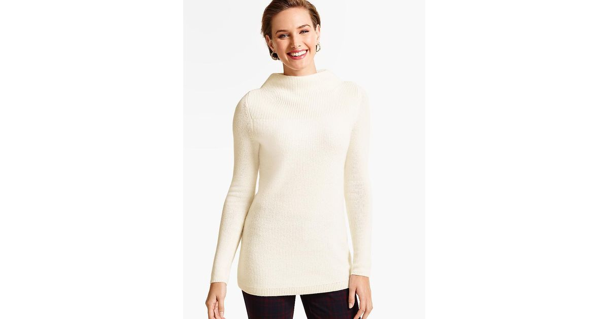 c0f63295f Lyst - Talbots Cashmere Honeycomb Sweater in White