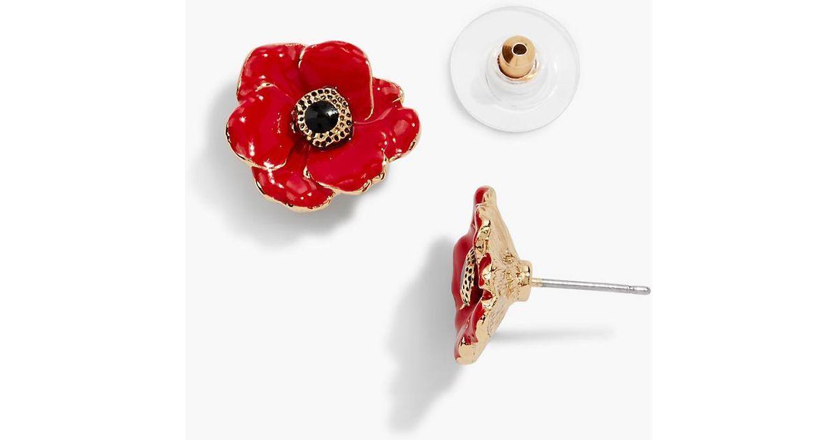 Moda Red Enamel Poppy Gold Tone Cufflinks