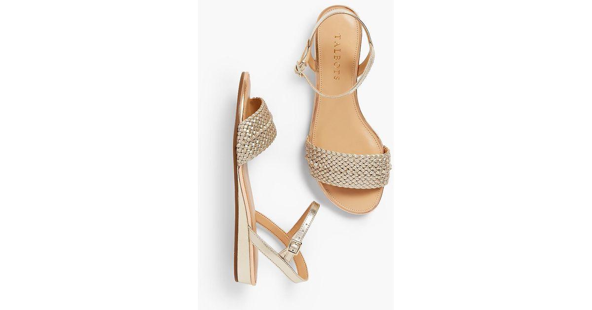 2e9d4241049d Talbots Daisy Metallic Micro-wedge Sandals in Metallic - Lyst