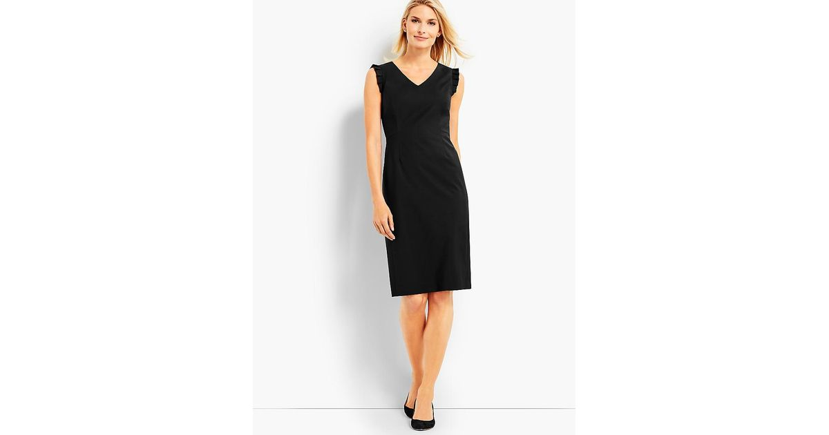 Lyst Talbots Seasonless Wool Ruffle Sleeveless Sheath Dress In Black