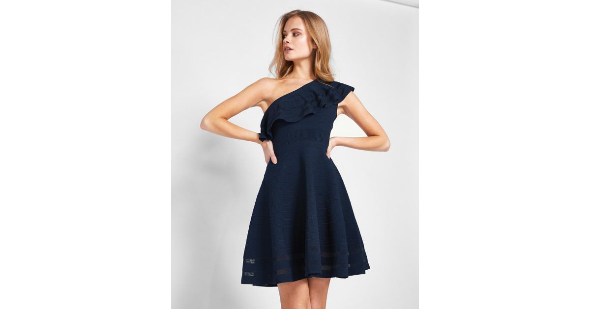 4717810bbb36 Lyst - Ted Baker One Shoulder Knitted Dress in Blue